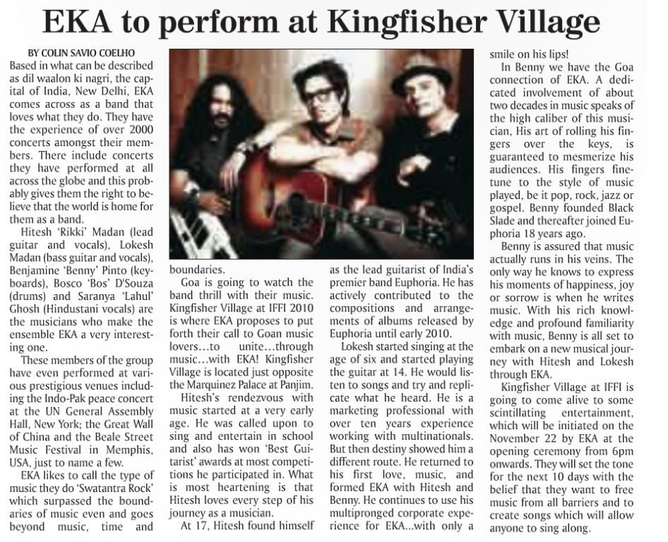 EKA - EKA to perform at Kingfisher Village Herald, Goa