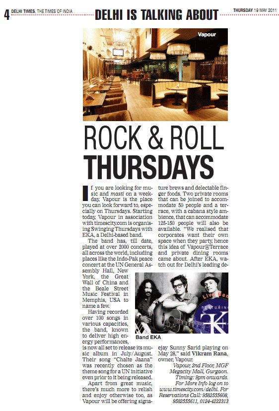 EKA - Rock & Roll Thursdays – Times of India – Delhi Times
