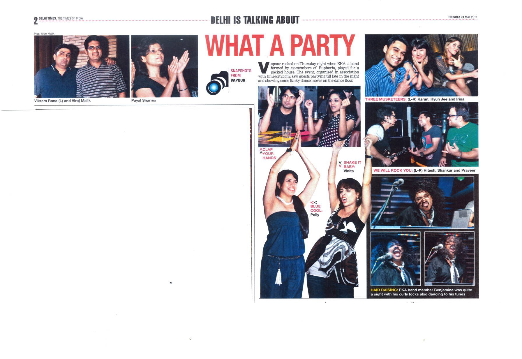 EKA - What a Party – Times of India – Delhi Times 24 May 2011
