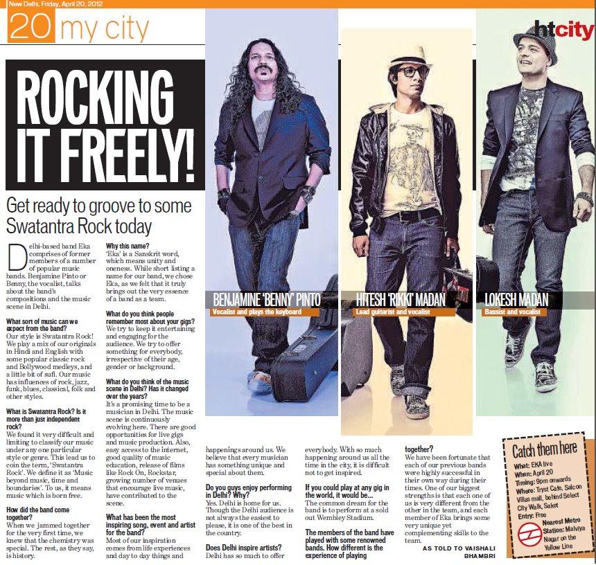 EKA - EKA Live @ Tryst Cafe,Saket,Delhi – Hindustan Times HT City Delhi – 20 April 2012
