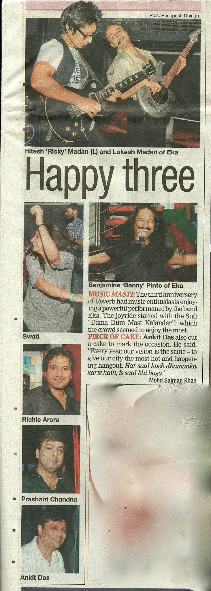 EKA - Delhi Times, Page 3: The Third Anniversary of Reverb had music Enthusiasts enjoying a powerful performance by the band Eka